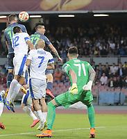 gol di David Silva Lopez Napoli, goal celebration  <br /> Napoli 07-05-2015 Stadio San Paolo <br /> Football Calcio UEFA Europa League Semi-finals, First leg. Napoli - Dnipro.<br /> Foto Cesare Purini / Insidefoto