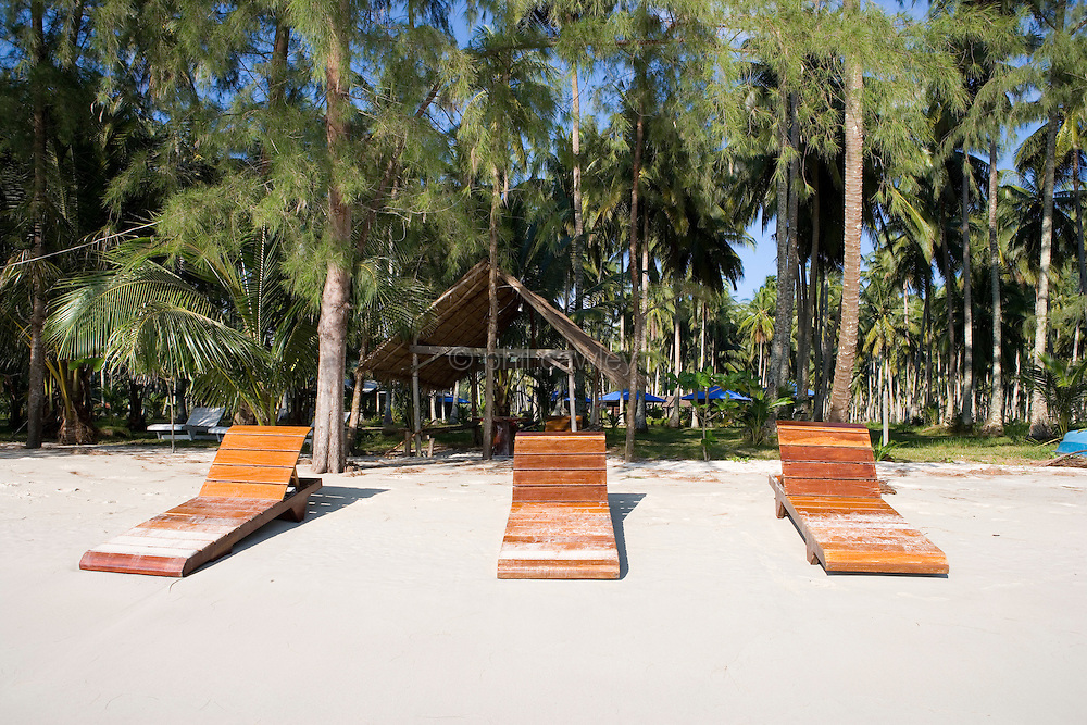 Sun loungers on a beach