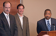 Mark Weinberg, director of the Voinovich Center,Lynn Gellermann, a founding partner of Adena Ventures, Roderick McDavis, president of Ohio University. ..11/17/06..Contact: Media Relations Coordinator Jessica Stark at 740-597-2938 or starkj@ohio.edu, or Director of Research Communications Andrea Gibson at 740-597-2166 or gibsona@ohio.edu....State Awards $3.5 Million for Southeast Ohio Business Growth.Ohio University, Adena Ventures partnership to benefit Appalachian entrepreneurs..ATHENS, Ohio (Nov. 17, 2006) - The state of Ohio has awarded $3.5 million to Ohio University's Voinovich Center for Leadership and Public Affairs and venture capital firm Adena Ventures to invest in new technology businesses in the 19 counties of Southeast Ohio. ..The funds will expand the partnership, which has become a national model for rural economic development. This initial award - which sets up a pre-seed fund and business assistance for digital technology companies - is part of a larger proposal submitted to the state that could attract more funding this spring.   ..The Ohio Department of Development announced the award of funds from its Third Frontier Entrepreneurial Signature Program, which supports technology-based business growth throughout the state. ..The Voinovich Center, Adena Ventures and area investors will identify and support regional entrepreneurs who need professional expertise and funding to launch their businesses. The program is unique because it offers venture capital funding to smaller, higher risk ventures in the areas of digital interactive media and life sciences for the first time in Southeast Ohio...?Adena and the Voinovich Center have a five-year track record of assisting early-stage companies in Appalachian Ohio. This award represents an important milestone for furthering our work in this region,? said Lynn Gellermann, a founding partner of Adena Ventures. ..Since 2002, Adena Ventures has invested $13 million in 10 companies and provided nearly $4 million o