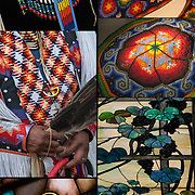 Montage of for images: Pow Pow Regalia, Huichol bead work,Saint stained glass and Tiffany Grapevine Panels' Stain Glass Window.<br />