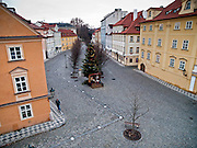 """""""Na Kampe"""" square seen from Charles Bridge in the city center of Prague."""