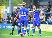 AFC Wimbledon Forward Cody McDonald (10) celebrates his goal 2-1 during the Pre-Season Friendly match between AFC Wimbledon and Watford at the Cherry Red Records Stadium, Kingston, England on 15 July 2017. Photo by Jon Bromley.