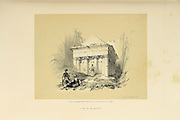 Tomb of Zechariah, Jerusalem from The Holy Land : Syria, Idumea, Arabia, Egypt & Nubia by Roberts, David, (1796-1864) Engraved by Louis Haghe. Volume 1. Book Published in 1855 by D. Appleton & Co., 346 & 348 Broadway in New York.
