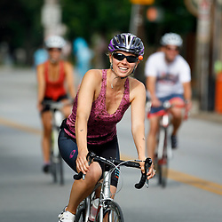 Louisville, Ky., -- Danielle participates in cyclouvia, Sunday, June 24, 2018 at the Frankfort Ave in Louisville.