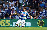 Gabriele Angella (QPR defender) getting battered on his debut during the Sky Bet Championship match between Queens Park Rangers and Nottingham Forest at the Loftus Road Stadium, London, England on 12 September 2015. Photo by Matthew Redman.
