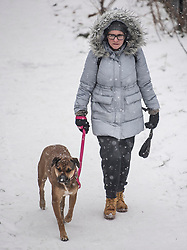 © Licensed to London News Pictures. 02/03/2018. London, UK. A woman walks her dog along the tow path of the Grand Union Canal as further snowfall covers the landscape in Little Venice, Westminster, London. The 'Beast from the East' and Storm Emma have brought extreme cold, ice and heavy snow to the UK. Photo credit: Ben Cawthra/LNP