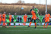 Forest Green Rovers Charlie Clough(5) heads the ball misses the target during the Vanarama National League match between Forest Green Rovers and Braintree Town at the New Lawn, Forest Green, United Kingdom on 21 January 2017. Photo by Shane Healey.