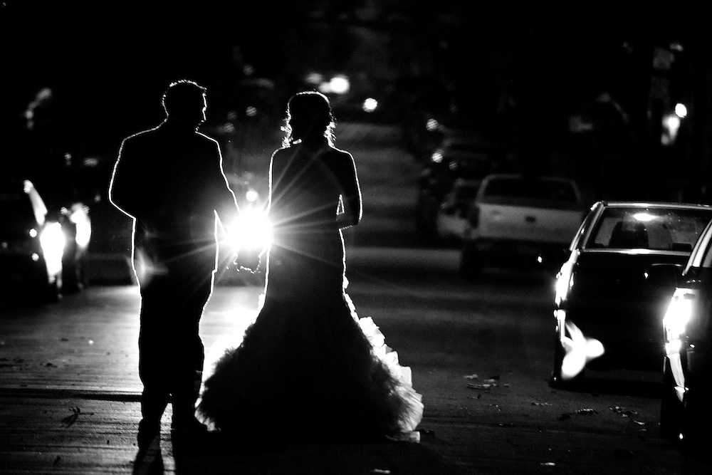 Erin and Joe walk away after their portrait session for their Brooklyn wedding.