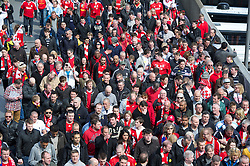 LONDON, ENGLAND - Saturday, April 14, 2012: Liverpool supporters walk up Wembley Way to watch the 218th Merseyside Derby, the FA Cup Semi-Final, at Wembley. (Pic by David Rawcliffe/Propaganda)