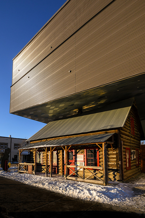 The first rays of the sun illuminate the old and new at McBride Museum in Whitehorse, Yukon.
