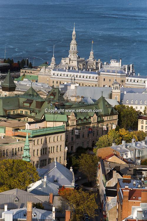 Canada. Quebec. general and aerial view of the city. the old city and the Saint Laurent river.    / vue generale et aerienne de la ville. la vielle ville et le fleuve Saint Laurent.