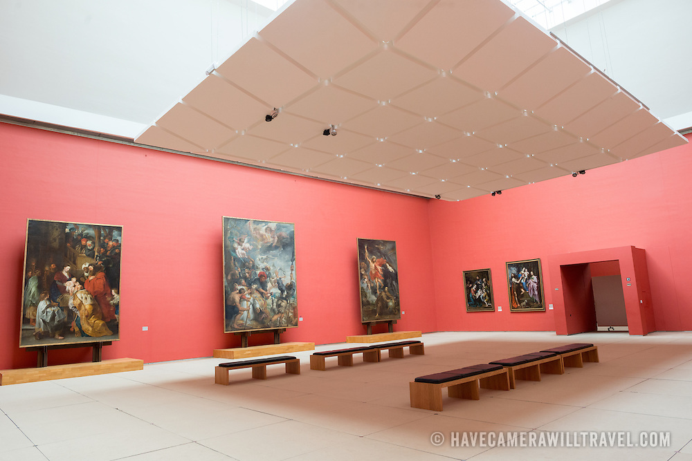 Paintings by Peter Paul Rubens (1577-1640) in a dedicated room at the Royal Museums of Fine Arts in Belgium (in French, Musées royaux des Beaux-Arts de Belgique), one of the most famous museums in Belgium. The complex consists of several museums, including Ancient Art Museum (XV - XVII century), the Modern Art Museum (XIX ­ XX century), the Wiertz Museum, the Meunier Museum and the Museé Magritte Museum.