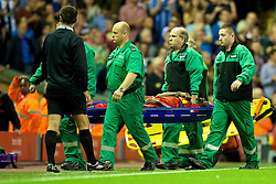 27.08.2013, Anfield, Liverpool, ENG, League Cup, FC Liverpool vs Notts County FC, 2. Runde, im Bild Liverpool's Kolo Toure is stretchered off injured during the Football League Cup 2nd Round match during the English League Cup 2nd round match between Liverpool FC and Notts County FC, at Anfield, Liverpool, Great Britain on 2013/08/27. EXPA Pictures © 2013, PhotoCredit: EXPA/ Propagandaphoto/ David Rawcliffe<br /> <br /> ***** ATTENTION - OUT OF ENG, GBR, UK *****