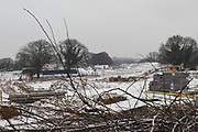 Worrk stopped for snow, Barnhorn Green building development,  Bexhill on Sea, , 2 March 2018