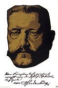 Poster, 1917, of General Field Marshall Paul von Hindenburg (1847-1934) German soldier and statesman, based on portrait by Louis Oppenheim. 1917. World War I.