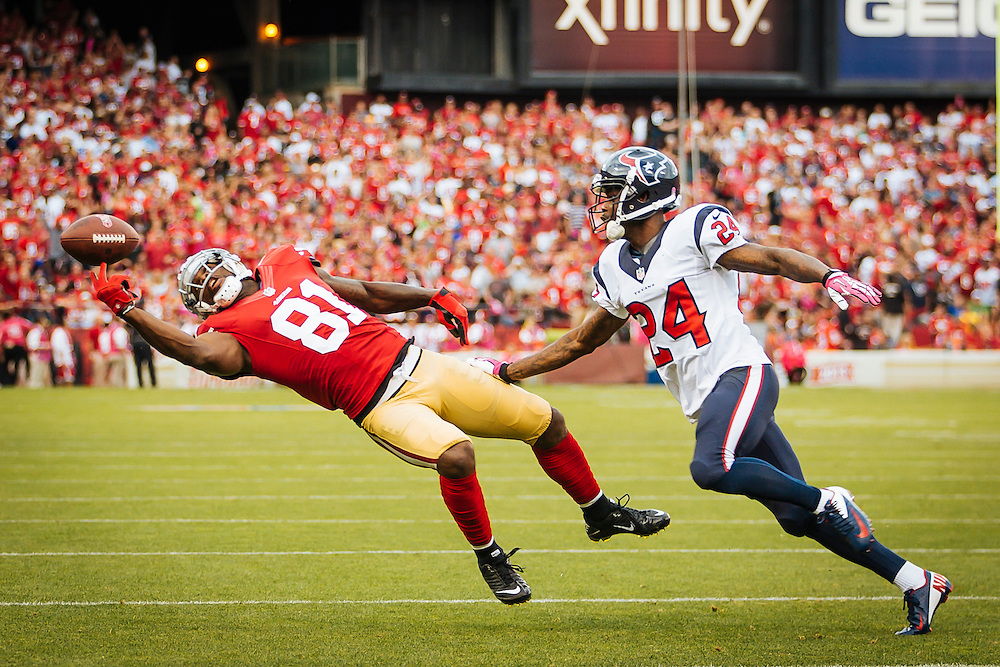 SAN FRANCISCO, CA - October 6: Anquan Boldin #81  of the San Francisco 49ers reaches for the ball during the game against the Houston Texans at Candlestick Park on October 6, 2013 in San Francisco, California. The 49ers defeated the Texans 34-3. (Photo by Jean Fruth/San Francisco 49ers