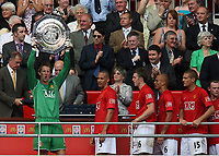 Photo: Rich Eaton.<br /> <br /> Manchester United v Chelsea. FA Community Shield. 05/08/2007. Manchester United's goalkeeper Edwin Van der Sar celebrates after his saves win United the Shield in the penalty shootout.