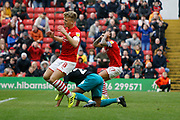 Cameron McGeehan of Barnsley reacts to a missed chance during the EFL Sky Bet Championship match between Barnsley and Swansea City at Oakwell, Barnsley, England on 19 October 2019.