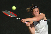 Gloucester: Manchester fell to Winchester in the Division 2 North semifinals 4-1 Wednesday at the Winchester Swim and Tennis Club. Manchester Essex senior Jordan Evans returns a volley in her first-singles match against Winchester's Jackie Lionetta. Evans, the only Manchester player to win her match, defeated Lionetta 6-4, 6-3. .Photo by Mike Dean/Gloucester Daily Times Wednesday, June 06, 2007