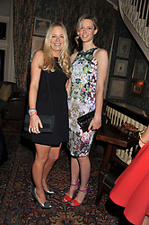 Left to right, ASTRID HARBORD and OLIVIA HUNT at a dinner hosted by Edward Taylor and Alexandra Meyers in association with Johnnie Walker Blue Label held at Mark's Club, 46 Charles Street, London W1 on 26th April 2012.