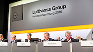 Karl Ulrich Garnadt (Member of the Board and CEO Lufthansa German Airlines), Simone Menne (Board member and CFO), Carsten Spohr (CEO), Walfgang Mayrhuber (Chairman of the Supervisory Board of Deutsche Lufthansa AG). during the Lufthansa AGM at Congress Center Hamburg, Hamburg<br /> Picture by EXPA Pictures/Focus Images Ltd 07814482222<br /> 28/04/2016<br /> ***UK &amp; IRELAND ONLY***<br /> EXPA-EIB-160428-0047.JPG