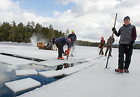 The Rockywold-Deephaven Camp crew works in Squam Cove for day one of the annual ice harvest Wednesday.  (Karen Bobotas/for the Laconia Daily Sun)