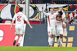 13.02.2010,  Rhein Energie Stadion, Koeln, GER, 1.FBL, FC Koeln vs Mainz 05, 22. Spieltag, im Bild: Torjubel / Jubel nach dem 1:1 durch Sami Allagui (Mainz #9) (re./unten) mit Andre Schuerrle (Mainz #14) (li.) und Lewis Holtby (Mainz #18) (re.), sowie angelaufen Radoslav Zabavnik (Mainz #8)  EXPA Pictures © 2011, PhotoCredit: EXPA/ nph/  Mueller       ****** out of GER / SWE / CRO  / BEL ******