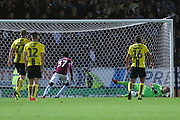 Burton Albion goalkeeper Harry Campbell (20) saves a penalty in the dying minutes during the second round or the Carabao EFL Cup match between Burton Albion and Aston Villa at the Pirelli Stadium, Burton upon Trent, England on 28 August 2018.