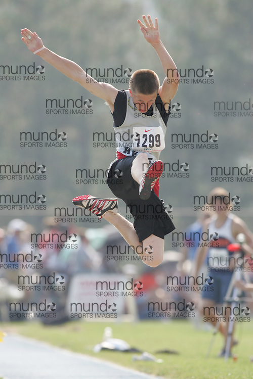 Matt Townsend competing in the midget boys long jump at the 2007 OFSAA Ontario High School Track and Field Championships in Ottawa.