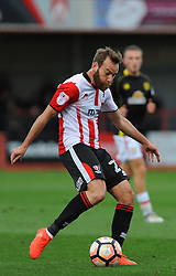 James Dayton of Cheltenham Town attempts a shot at goal - Mandatory by-line: Nizaam Jones/JMP - 05/11/2016 - FOOTBALL - LCI Rail Stadium - Cheltenham, England - Cheltenham Town v Crewe Alexandra - Emirates FA Cup first round