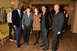 Left to right, OZWALD BOATENG, RICHARD JONES, SOPHIE ELLIS-BEXTOR, SINDIKA DOKOLO and ? at the Sindika Dokolo Art Foundation Dinner held at The Cafe Royal, Regent Street, London on 18th October 2014.