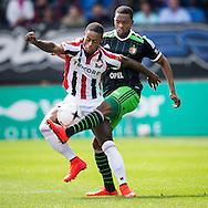 TILBURG, Willem II - Feyenoord, voetbal Eredivisie seizoen 2014-2015, 12-04-2015, Koning Willem II Stadion, Willem II speler Terrel Ondaan (L), Feyenoord speler Miquel Nelom (R).