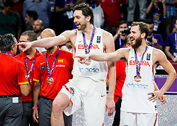 Pau Gasol of Spain and Sergio Rodriguez of Spain at medal ceremony after placed third during basketball match between National Teams  Spain and Russia at Day 18 in 3rd place match of the FIBA EuroBasket 2017 at Sinan Erdem Dome in Istanbul, Turkey on September 17, 2017. Photo by Vid Ponikvar / Sportida