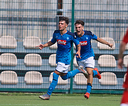 NAPLES, ITALY - Tuesday, September 17, 2019: SSC Napoli's Andrea Mancino (L) celebrates scoring the first goal during the UEFA Youth League Group E match between SSC Napoli and Liverpool FC at Stadio Comunale di Frattamaggiore. (Pic by David Rawcliffe/Propaganda)