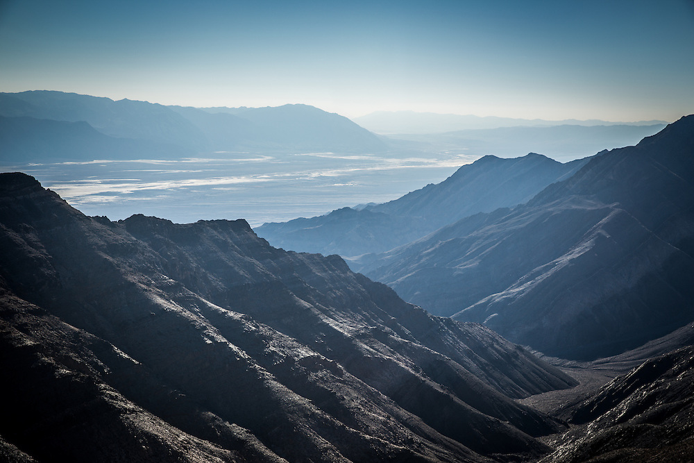 View from Aguereberry Point looking down at the valley floor in Death Valley, California.