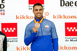 November 10, 2018 - Madrid, Madrid, Spain - Poorshab Zabiollah (IRI) win the bronce medal and the third place of the tournament of male Kumite -84 Kg during the Finals of Karate World Championship celebrates in Wizink Center, Madrid, Spain, on November 10th, 2018. (Credit Image: © AFP7 via ZUMA Wire)