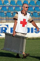 First aid  at 6th Round of PrvaLiga Telekom Slovenije between NK Primorje Ajdovscina vs NK Rudar Velenje, on August 24, 2008, in Town stadium in Ajdovscina. Primorje won the match 3:1. (Photo by Vid Ponikvar / Sportal Images)