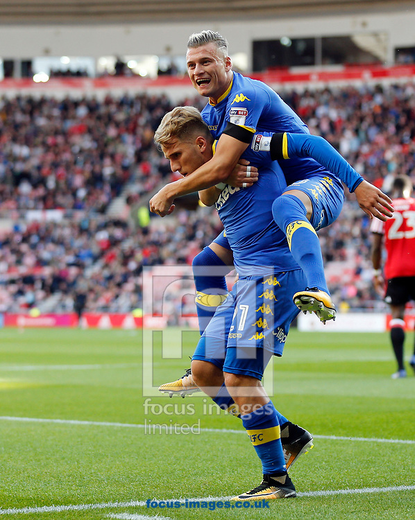 Samu Saiz (l) of Leeds United celebrates scoring the opening goal with Ezgjan Alioski during the Sky Bet Championship match at the Stadium Of Light, Sunderland<br /> Picture by Simon Moore/Focus Images Ltd 07807 671782<br /> 19/08/2017