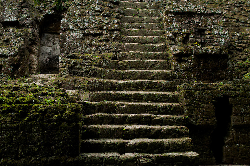 An excavated limestone staircase leads up from the jungle in the Mundo Perdido, or Lost World, at Tikal National Park in the Petén Basin in Northern Guatemala.