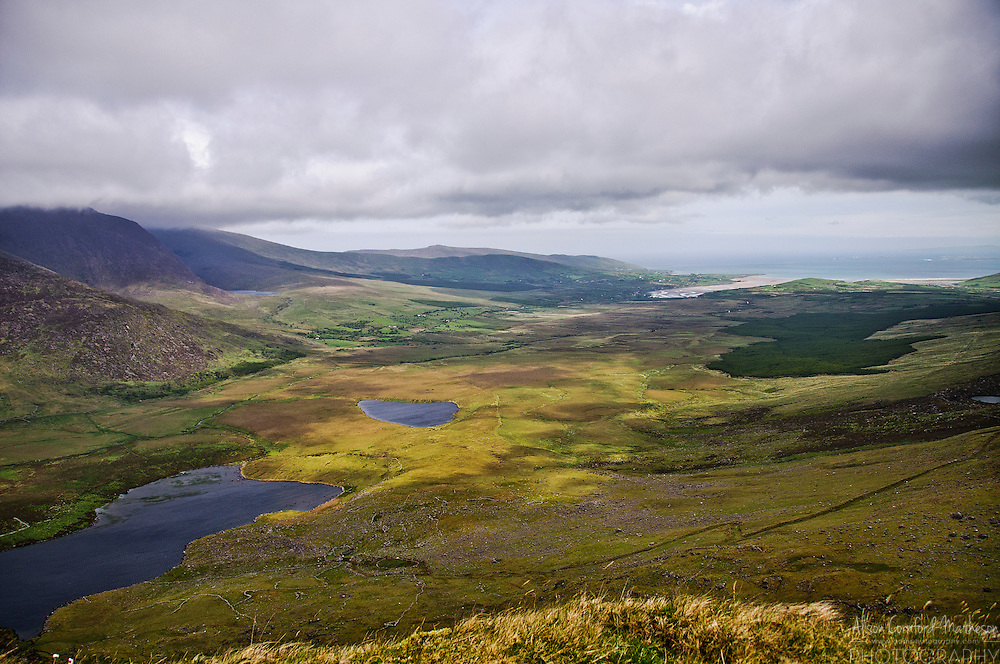View from The Conor Pass, the highest mountain pass in Ireland. Conor Pass crosses the  Brandon Mountains, Ireland's second highest peak.