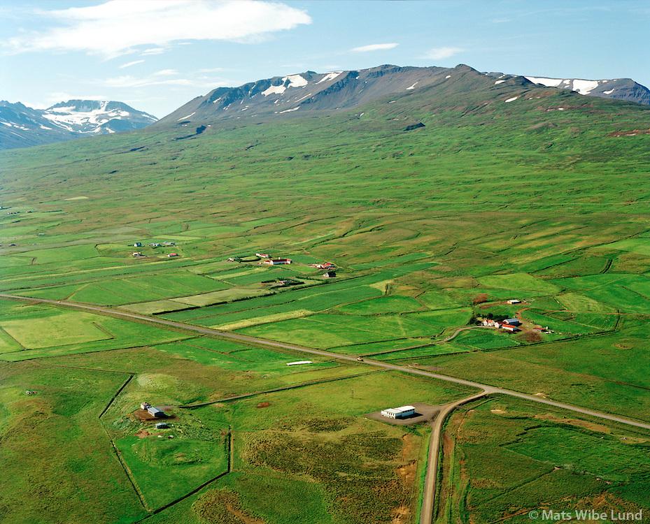 Sólborgarhóll og Garðshorn séð til suðvesturs, Hörgárbyggð áður Glæsibæjarhreppur / Solborgarholll and Gardshorn viewing southwest, Horgarbyggd former Glaesibaejarhreppur.