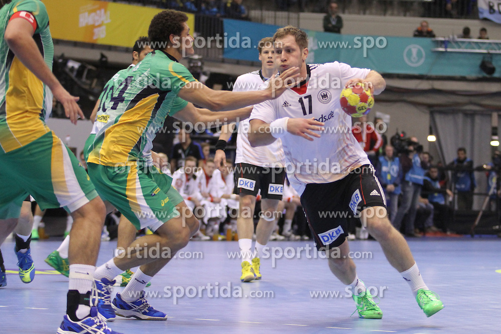 12.01.2013 Granollers, Spain. IHF men's world championship, prelimanary round. Picture show Steffen Weinhold in action during game between Germany vs Brazil at Palau d'esports de Granollers / Sportida Photo Agency