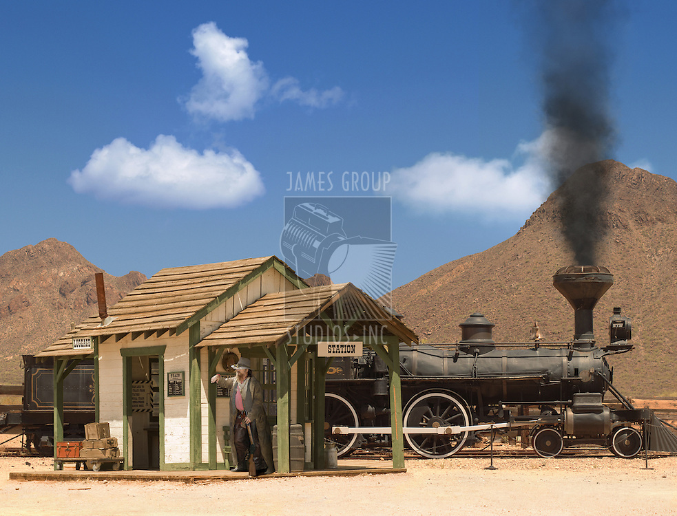 Old West train station and locomotive