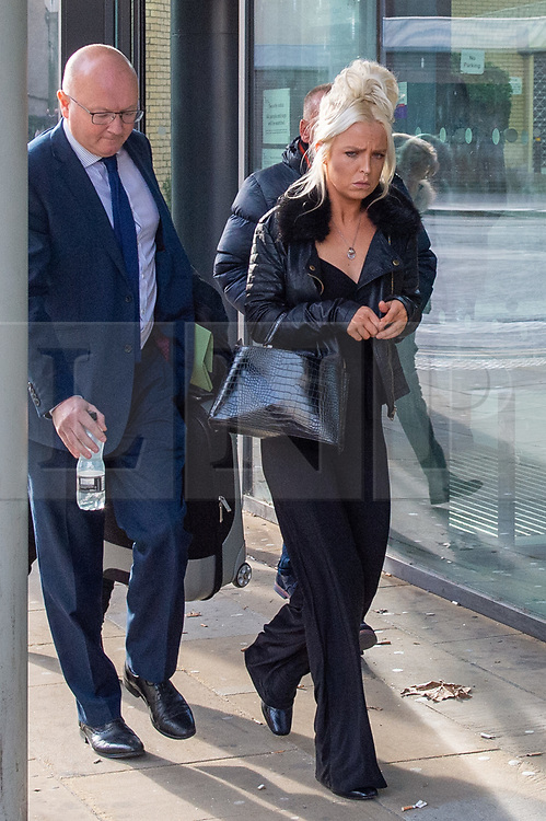 © Licensed to London News Pictures. 20/11/2019. Chelmsford, UK. 'Air rage' passenger Chloe Haines departs Chelmsford Magistrates' Court. Haines had to be restrained after allegedly becoming disruptive and making threats on a Jet2 flight from London Stanstead airport to Turkey on 22nd June 2019, two RAF Typhoon fighter jets were scrambled to escort the aircraft back to Stanstead, Haines was subsequently arrested and charged with 'Assault by beating' and 'Recklessly / negligently act in manner likely to endanger aircraft / person in an aircraft'. Photo credit: Peter Manning/LNP