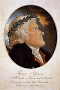 Thomas Jefferson, A Philospher, a Patriote and a Friend. Drawn by his friend Tadee Kioscuisko.  Aquatint early 1800s. Jefferson (1743-1826) Third President of the United States 1801-1809, in profile, wearing a laurel wreath.