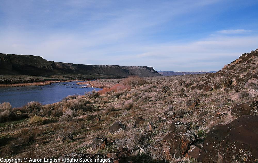 The Snake River bellow Swan Falls Dam flows through basalt canyon walls