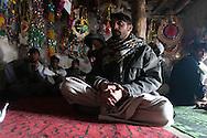 "Afghanistan. A TEA HOUSE ""TCHAI KHANA"" IN MIR ZAKAH VILLAGE  PAKTIA PROVINCE   Afghanistan   / UN SALON DE THE , ""TCHAI KHANA"" DANS LE VILLAGE DE MIR ZAKAH   PROVINCE DU PAKTIA,    Afghanistan  / L0009850"