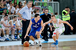 Axel Julien of France and Luka Rupnik of Slovenia during basketball match between National teams of Slovenia and France in Quarterfinal Match of U20 Men European Championship Slovenia 2012, on July 20, 2012 in SRC Stozice, Ljubljana, Slovenia. (Photo by Matic Klansek Velej / Sportida.com)