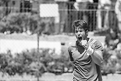 June 21, 2018 - L'Aquila, Italy - (EDITORS NOTE: Image has been converted to black and.white.) Gianluigi Quinzi during match between Benjamin Hassan (GER) and Gianluigi Quinzi (ITA) during day 6 at the Internazionali di Tennis Citt dell'Aquila (ATP Challenger L'Aquila) in L'Aquila, Italy, on June 20, 2018. (Credit Image: © Manuel Romano/NurPhoto via ZUMA Press)