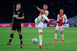 Hakim Ziyech #22 of Ajax in action during the Dutch Eredivisie match round 25 between Ajax Amsterdam and AZ Alkmaar at the Johan Cruijff Arena on March 01, 2020 in Amsterdam, Netherlands